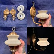 Pair Of Antique Brass Sconces Glass Accents Art Deco Slip Shades 87f
