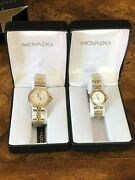 Movado His And Hers Watches Round Gold And Silver Tone Analog Brand New Vintage