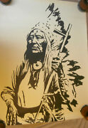 1971 Block Print Art Poster-native American Chief By Andy Yates