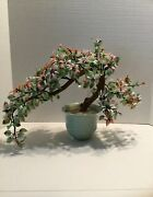 Large Vintage Jade Bonsai Flower Tree/over 75 Years Old/beautiful- Great Quality
