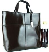 Auth Patent Chocolate Leather Tote Bag Hand Bag Purse Italy Used Vintage