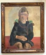 Antique Oil Painting French Expressionist Painting Portrait Girl Jeanne Fortin