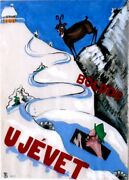 Original Vintage Drawing Snow Sport In Hungary Car Driver 1935