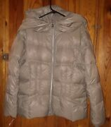 Coldwater Creek Xl Beige Brown Quilted Down Puffer Jacket Coat Hood Nwt