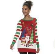 United States Sweaters Womens Xl Ugly Christmas Tunic Sweater 3d Santa Elves 50
