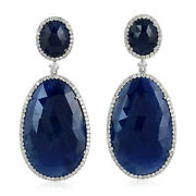 Solid 18k White Gold Pave Diamond Blue Sapphire Dangle Earrings Jewelry For Gift