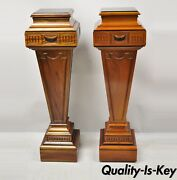 20th C. French Empire Neoclassical Mahogany Wood Pedestal Plant Stands - A Pair