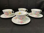 Royal Doulton Arcadia Green Backstamp Set Of 4 Cups And Saucers 2 5/8