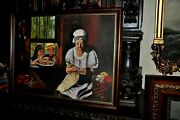Vintage Americana The Pie Thieves Oil Painting Very Funny
