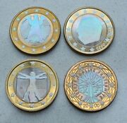 Lot Of 4 1999-2002 Holographic Euro Coins France, Germany, Italy, Monaco Nice