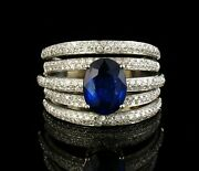 Effy Signed Natural 3.19ctw Blue Sapphire Diamond Solid 14k White Gold Band Ring