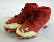 Under Armor Ua Heater Mid Baseball Cleats 1246695-611 Red White Shoes Size 7