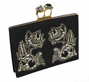 New Alexander Mcqueen Two Ring Knuckle Embroidery Leather Clutch