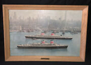 S.s. United States And Ss America Ships Large Framed Picture With Plaque Ny Lines