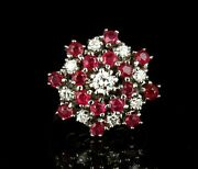 Vintage Natural 2.41ctw Burmese Ruby And Diamond 14k White Gold Large Cluster Ring