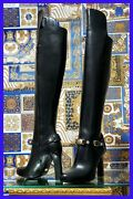 Versace Over-the-knee Black Leather Horse Riding Style Boots W/high Heels 35 - 5