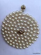Vintage Genuine Akoya Pearl Necklace 14k Gold Clasp Opera Lengths 32andrdquo 6.6mm