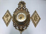 Vintage Syroco Wall Clock 4780 With Lock And Key Plaques 4271