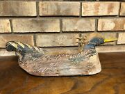 Rare Antique C.1850 French Hand Carved Wood Duck Decoy France Folk Art Hunting