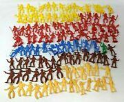 Vtg Lot Of 121 Mpc Multicolor Plastic 2.25 Cowboy Indian Western Figures Toy