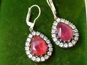 Vintage Christmas Red Pear Dangle Sterling Silver Lever Dangle Earrings 10f 110