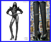 New Versace Thigh High Black Leather Mesh Boots 40 - 10