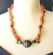 Antique Berber Orange Red Coral Amazonite Silver Pendant Necklace African Trade