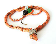 Antique Moroccan Berber Red Coral Silver Pendant Necklace African Trade