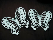 Vintage 2pc Set Butterfly Burwood Ornate Wall Plaque Plastic Rare Collectable