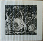 Mildred Bryant Brooks Etching Cypress Of Monterey 1941 Pencil Signed