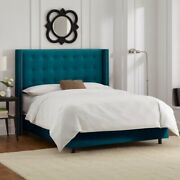 Sarah Wingback Upholstered Bed Double King Size Superking