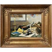 Whimsical Trompe Landrsquooeil Oil Painting Of Cat Playing On A Desk