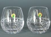 2 Two Waterford Cluin Stemless Cut Lead Clear Crystal Red Wine Slovenia