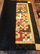 Christmas Quilt, 9 Patch On Point, Handmade 56 X 63, Ornament Design