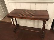 Antique 19c Inlaid Chess Gaming Table