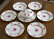 Herend Porcelain Bread And Butter Plate Set For 6 In Raspberry Chinese Bouquet