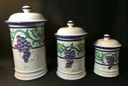 Italian Vietri Ceramic Grapes Fruit Kitchen Canisters Containers Set Italy