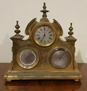 France Table Clock With Barometer And Thermometer 1880-1890