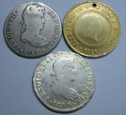 Spain 4 Real Ferdinand Vii Mexico Lima Spanish Silver Colonial Era Lot 3 Coins
