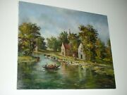 1987 Hungarian Budapest Oil Painting On Canvas By Ebenhardt Signed - 24 X 20