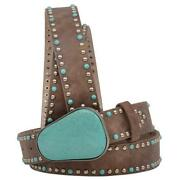 Angel Ranch Western Womens Belt Leather Turquoise Buckle Studs Brown Da3782
