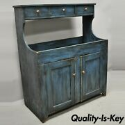 19th C Antique Primitive Country Blue Distress Painted Stepback Cupboard Cabinet