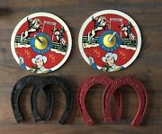 Roy Rogers And Trigger Vintage Tin/rubber Horseshoe Game, Rare Variation, Ohio Art