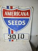 Original Vintage Americana Seeds Tin Sign Feed Corn Sign / Red , White And Blue