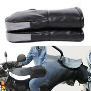 Motorcycle Handlebar Gloves Hand Fur Muffs Pu Leather Winter Thermal Warm Mitts