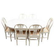 Gustavian Painted Dining Table With 6 Chairs