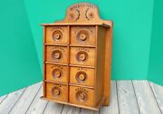 Primitive Antique Oak And Maple Wooden Hanging Spice Box Stenciled Wall Cabinet