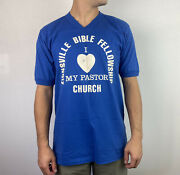 """Vintage 70's """"i Love My Pastor"""" 50/50 T Plus Football Top Mens Large Made In Usa"""