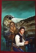 Star Wars Han Solo And Chewbacca - Signed Poster Print 11x17 By Dave Dorman