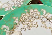 Set 10 Rosenthal Ivory Green And Gold Dinner Plates 10 1/2 Inches Ca. 1930s